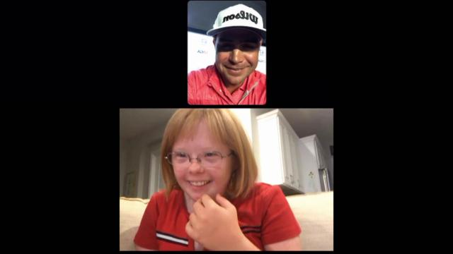Gary Woodland talks to Amy Bockerstette after U.S. Open victory