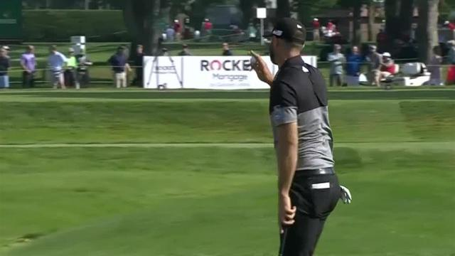Dustin Johnson sticks tee shot to set up birdie at Rocket Mortgage