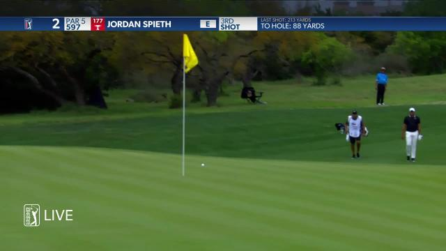 Jordan Spieth's solid approach from off the cart path at Valero