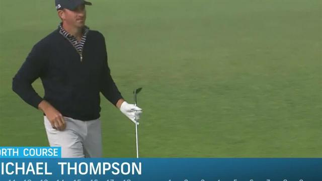 Michael Thompson chips in for eagle at Farmers