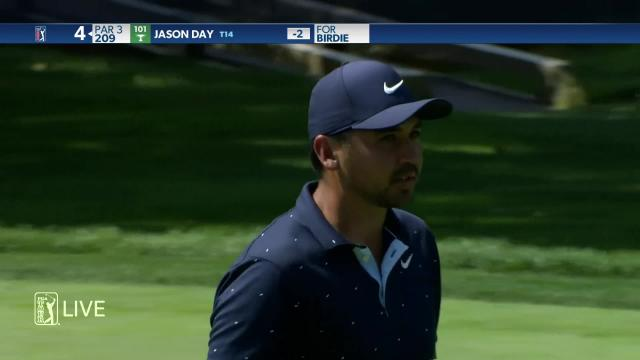 Jason Day sinks a 28-foot birdie on No. 4 at Workday