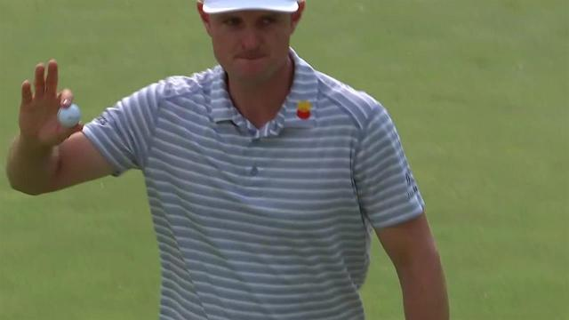 Justin Rose drains 18-footer for birdie at the Memorial