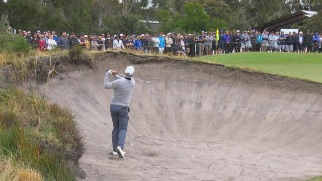 Adam Scott nearly holes out from the bunker at Presidents Cup