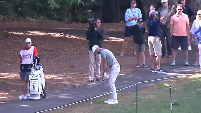 Kevin Tway's approach from the cart path sets up birdie putt at Safeway Open