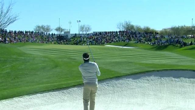 Bubba Watson takes aim from fairway bunker to set up birdie at Waste Management