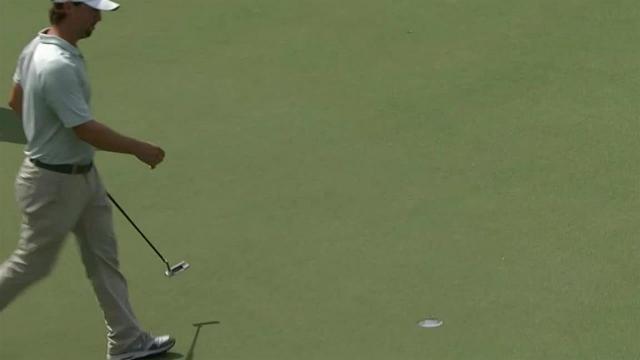 Garrett Osborn sinks a 25-foot birdie on No. 10 in Round 1 at Sanderson Farms