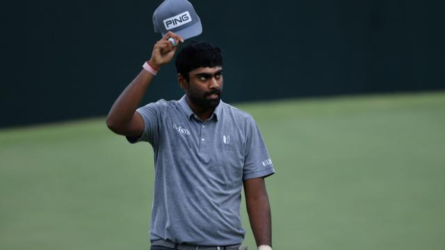 Sahith Theegala holds the solo lead at Sanderson Farms