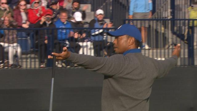 Tiger Woods' birdie putt on No. 15 at The Open
