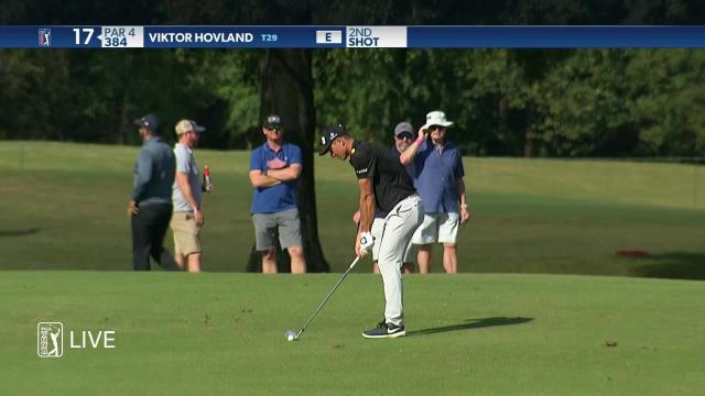 Viktor Hovland birdies No. 17 in Round 1 at Vivint Houston Open