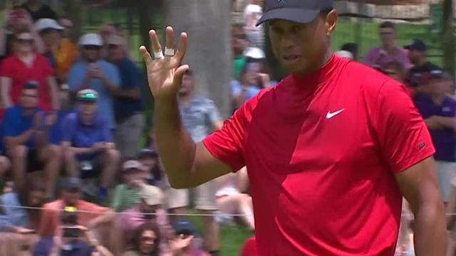Tiger Woods sinks 21-footer for birdie at the Memorial