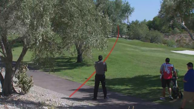 Phil Mickelson bends approach around trees to reach green at Shriners
