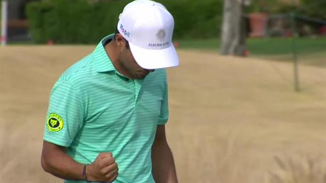 Abraham Ancer sinks 25-footer for birdie at The American Express