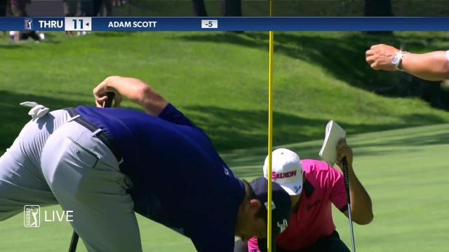 Adam Scott makes 24-foot birdie at the Memorial