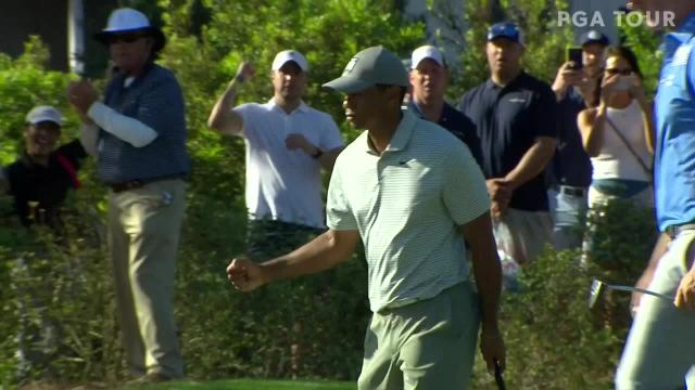 Tiger Woods jars 28-footer for birdie at THE PLAYERS