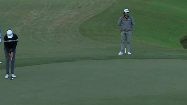 Scott Harrington sinks a 21-foot birdie on No. 7 at Houston Open