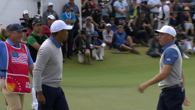 Today's Top Plays: Justin Thomas' birdie putt to win their Foursomes match for the Shot of the Day