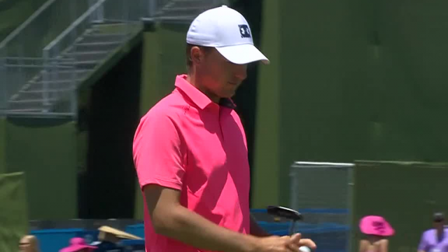 Jordan Spieth trickles one in for birdie at AT&T Byron Nelson
