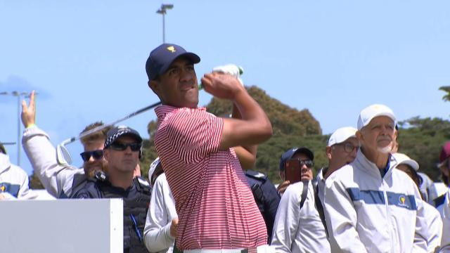 Tony Finau's tee shot sets up lengthy birdie putt at the Presidents Cup
