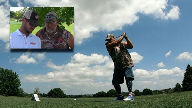 Brandon Crick analyzes Larry the Cable Guy's swing at Pinnacle Bank