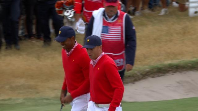 Tiger Woods' 39-foot chip shot at the Presidents Cup