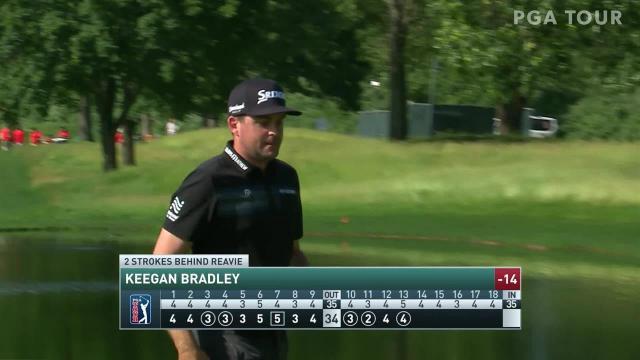 Keegan Bradley's clutch chip shot sets up birdie putt at Travelers