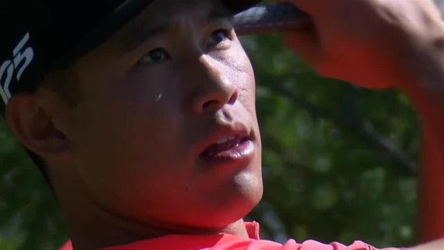 Collin Morikawa's tee shot inside 10 feet leads to birdie at Shriners
