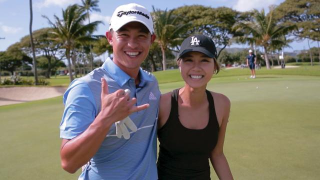 Collin Morikawa plays a hole with girlfriend Katherine Zhu at Sony Open