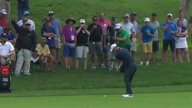 Martin Kaymer nearly holes out at the Memorial