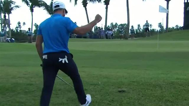 Viktor Hovland chips in for eagle at Puerto Rico