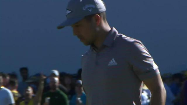 Xander Schauffele drains 14-foot birdie putt at Waste Management