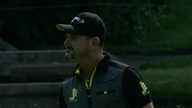 Rory Sabbatini sinks a 60-foot birdie at the Memorial