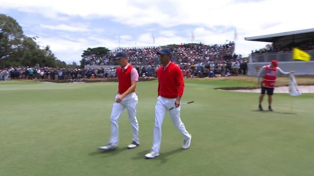 Tiger Woods' tee shot sets up 8-foot birdie putt at the Presidents Cup