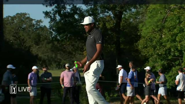 Tony Finau dials in approach to set up birdie at Vivint Houston Open