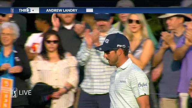 Andrew Landry sinks birdie putt from off the green at Valero