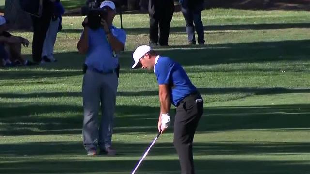 Francesco Molinari's approach hits the flagstick sinks a lengthy birdie putt at Safeway Open