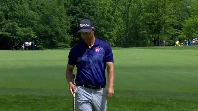 Adam Scott's beautiful second leads to birdie on No. 7 at the Memorial