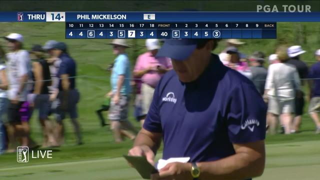 Phil Mickelson's approach sets up 3-foot birdie at Arnold Palmer