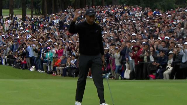 Tiger Woods' birdie on No. 9 at ZOZO