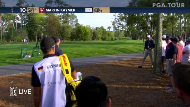 Martin Kaymer's approach from the pine straw yields birdie putt at THE PLAYERS