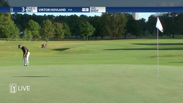 Viktor Hovland makes birdie on No. 3 in Round 1 at Vivint Houston Open