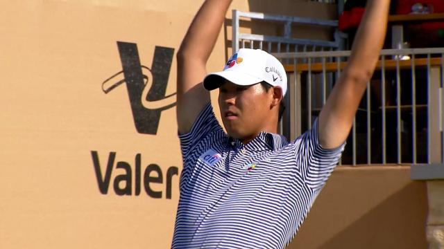 Si Woo Kim comments about Round 2 ace that propels him to the lead at Valero
