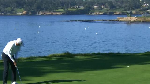 Jim Herman jars lengthy putt to save par at AT&T Pebble Beach