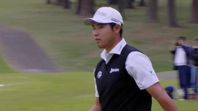Hideki Matsuyama's birdie putt from long distance at ZOZO