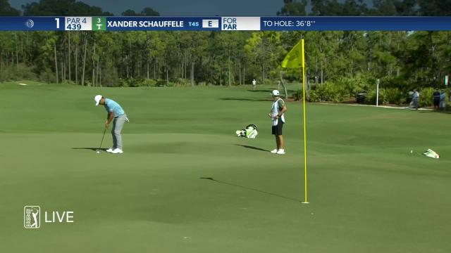 Xander Schauffele's putt on the 1st hole in the final round of the 2021 WGC-Workday