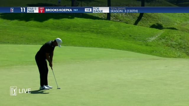 Brooks Koepka makes birdie on No. 11 in Round 3 at the Memorial