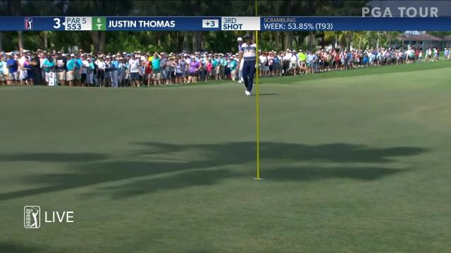Justin Thomas holes out from the pine straw at Honda