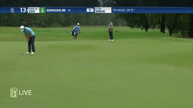 Sungjae Im sinks a 26-foot birdie on No. 13 in Round 1 at Wyndham