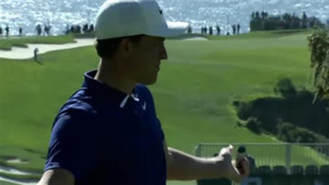 Cameron Champ's lengthy par save on the 14th hole at AT&T Pebble Beach