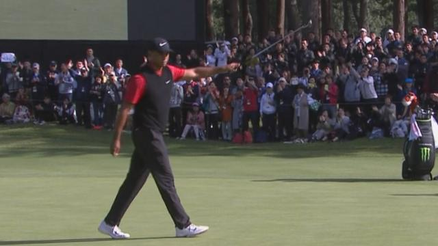 Tiger Woods drains record-tying putt for 82nd win at ZOZO
