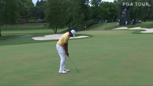 Tony Finau makes birdie on No. 13 in Round 4 at the Memorial